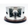 Kép 3/4 - Rezsó Tehén - spirituszégővel - akácfa alátéttel - ezüst színű  - szemből