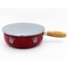 Kép 1/4 - Sajtfondü edény Szarvaspár, zománcozott, fa markolattal, piros színű