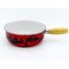 Kép 1/4 - Sajtfondü edény Havas móka, zománcozott, fa markolattal, piros színű