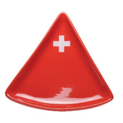 Tányér Svájci kereszt, háromszög alakú, piros színű