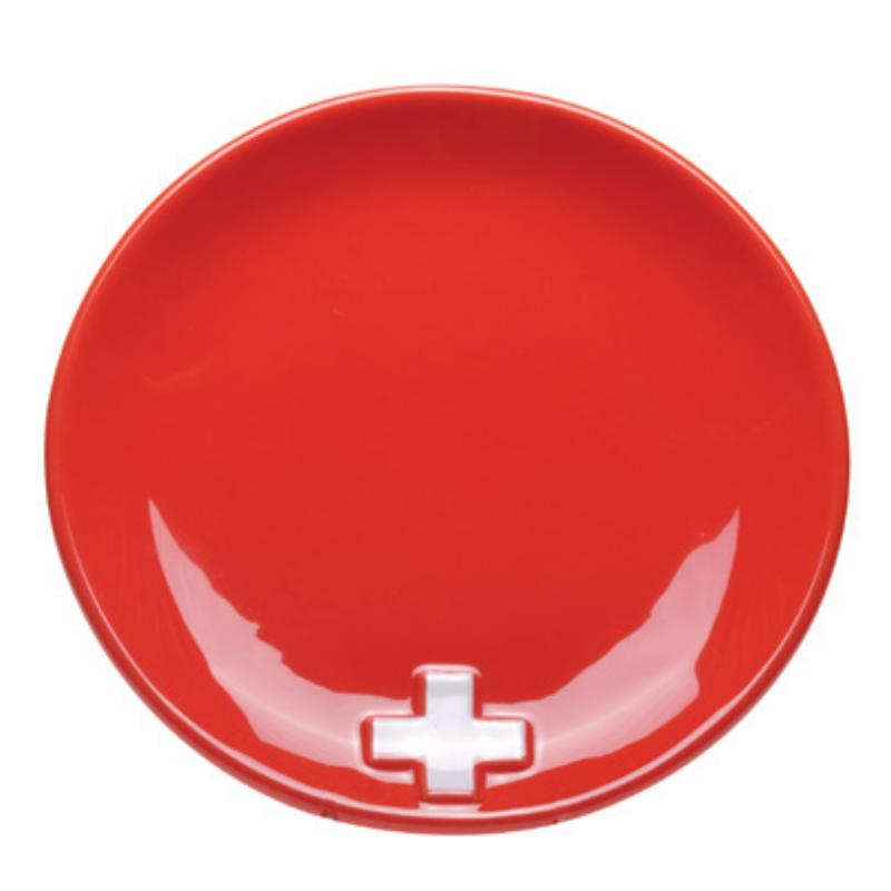 Tányér Svájci kereszt, piros színű
