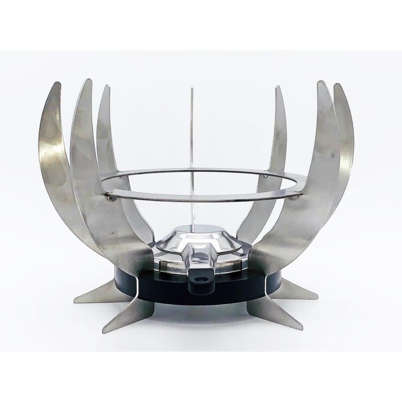 Rezsó Zéró - spirituszégővel - rozsdamentes acélból - ezüst színű - szemből
