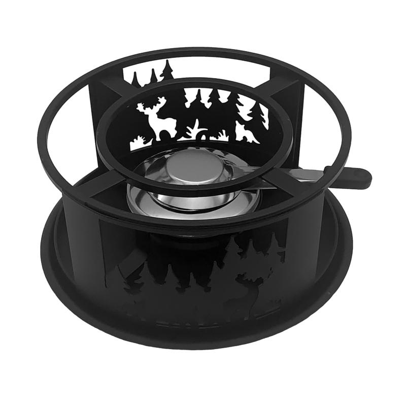 Rezsó Erdei állatok - spirituszégővel - fekete színű - felülről