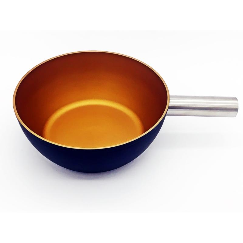 Sajtfondü edény - alumínium - fekete-arany színű - felülről