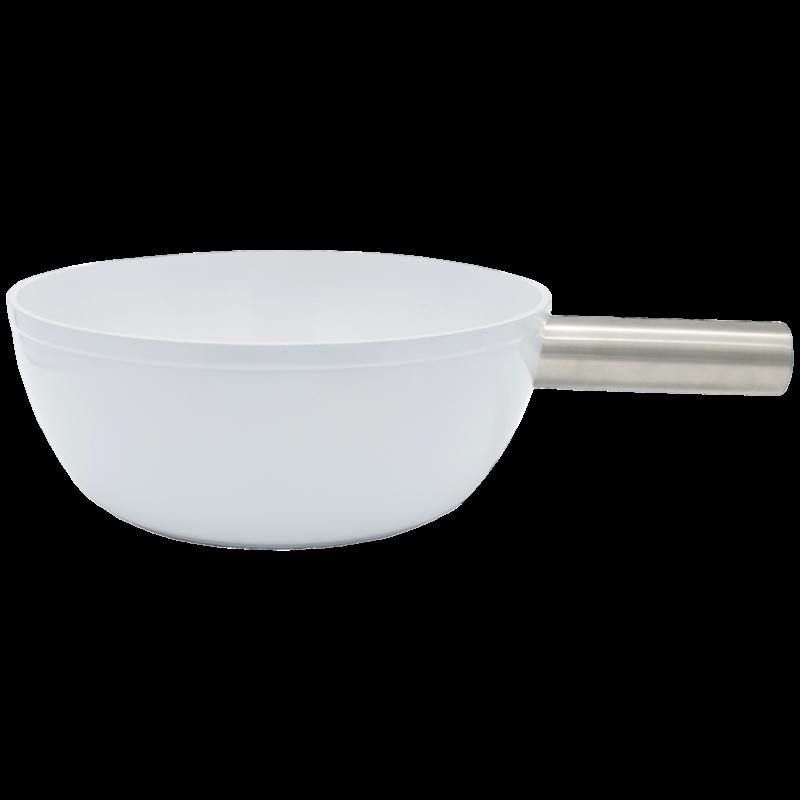 Sajtfondü edény, alumínium, fehér színű