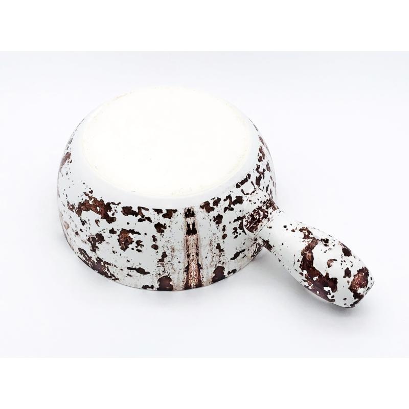 Sajtfondü edény Rozsdamintás - fehér színű - alulról