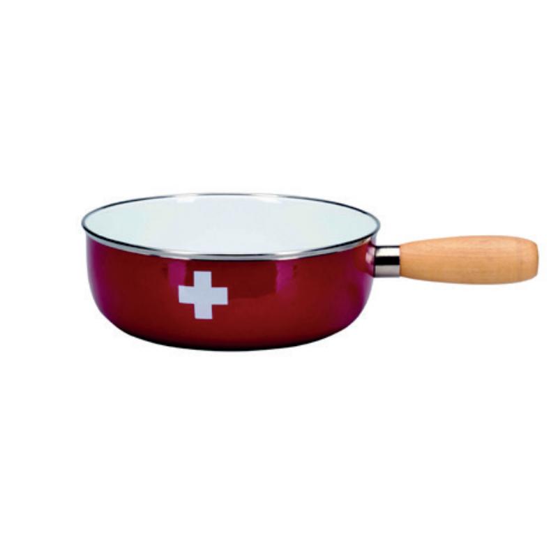 Sajtfondü edény Svájci kereszt, zománcozott, fa markolattal, piros színű