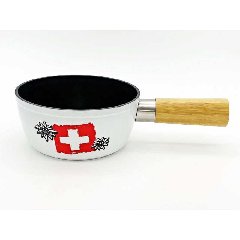 Sajtfondü edény Svájc, alumínium, fa markolattal, fehér színű