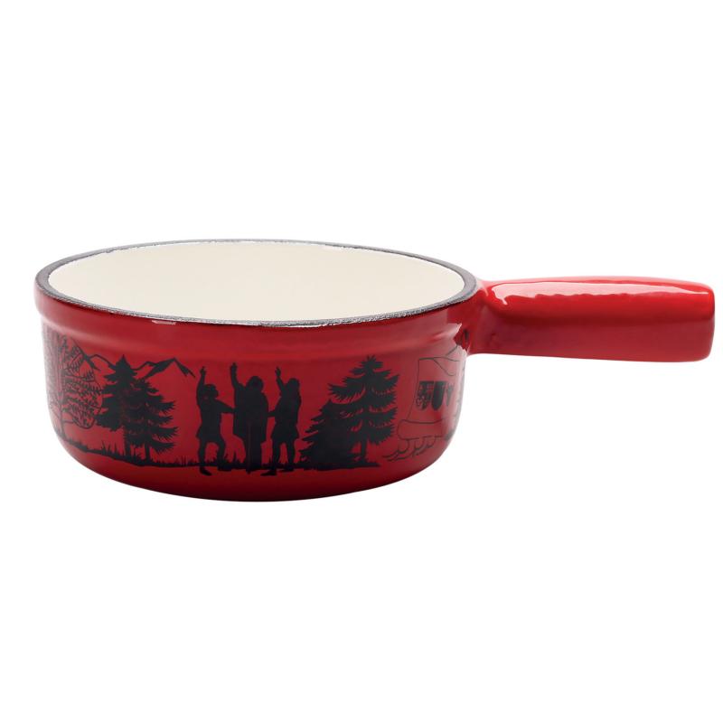 Sajtfondü edény Rütli eskü, öntött vas, piros színű