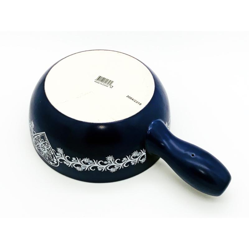 Sajtfondü edény Szív - kék színű - alúlról