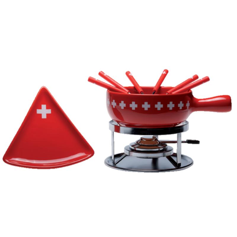 Sajtfondü szett Svájci keresztek, 6 db háromszög alakú tányérral, 15 részes