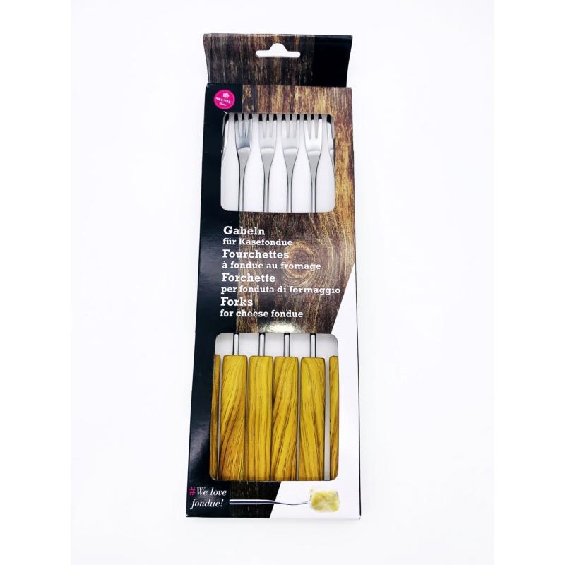 Villa sajtfondühöz Hullámok - műanyag PP nyelű - fa színű - csomag